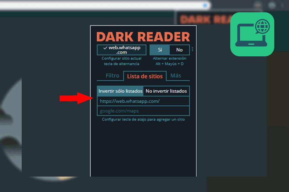 configurar dark reader whatsapp