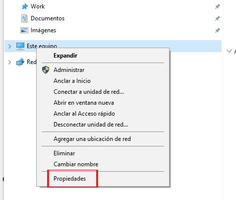 propiedades del sistema windows 10