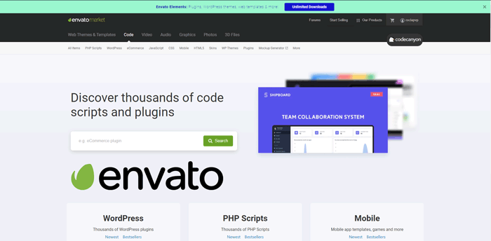 vender software en codecanyon o envato