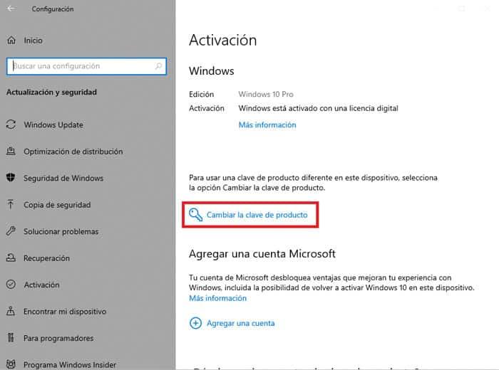 activar clave producto windows 10