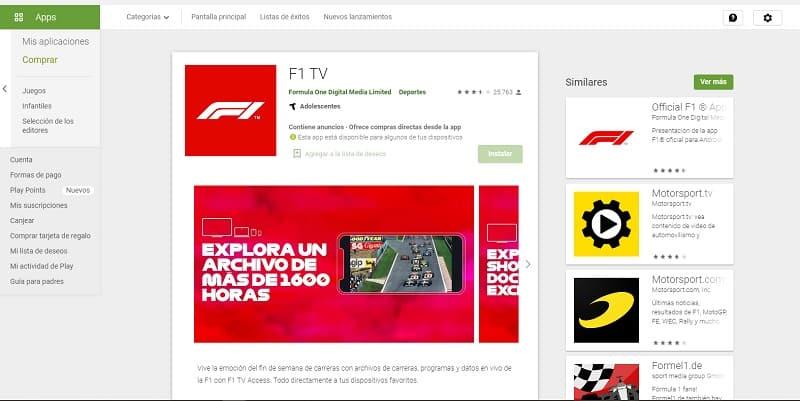 F1 TV ver fórmula 1 online