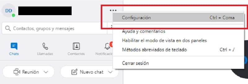 configuración camara skype