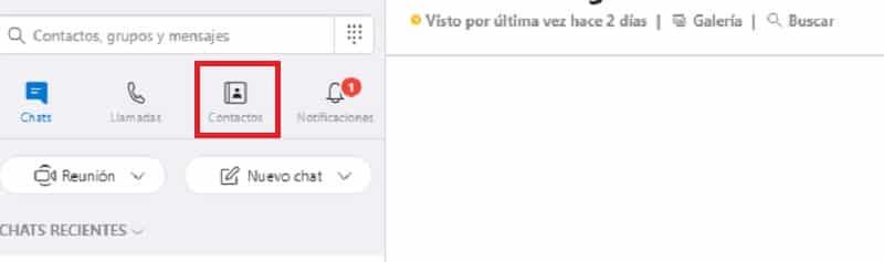 eliminar contactos en Skype