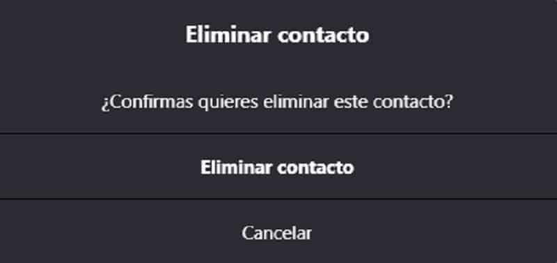 eliminar contacto skype