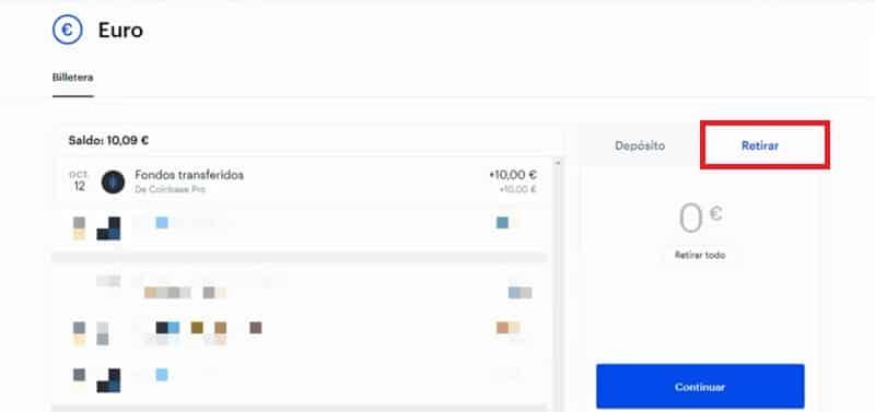 opción retirar dinero de Coinbase