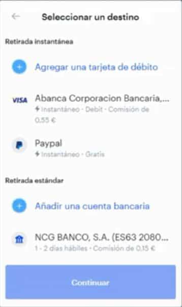 Añadir método de pago para retirar dinero de Coinbase
