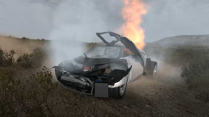 beamng accidente coche