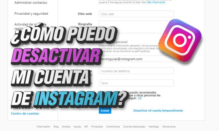 como puedo desactivar mi cuenta  de instagram
