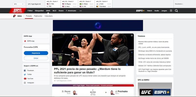 ESPN Ver UFC Online