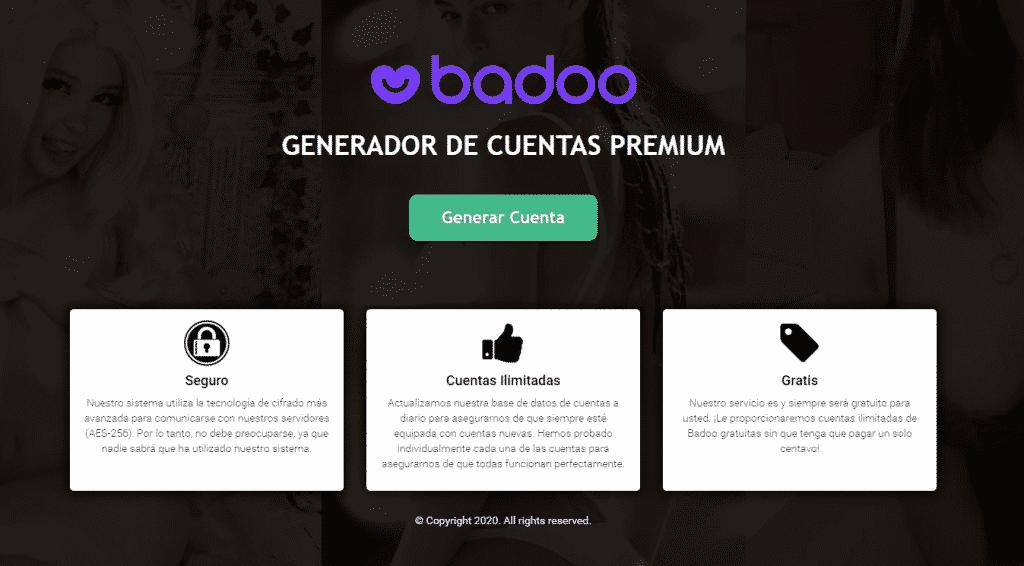 generador cuentas badoo premium